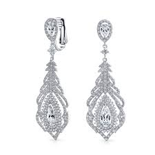 bling jewelry bridal rhodium plated brass cz chandelier clip on earrings