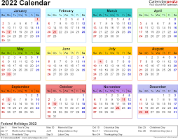 2022 Calendar Download 18 Free Printable Excel Templates