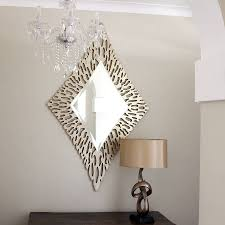 Decoration Luxurious Gold Diamond Shaped Mirror Stunning Gold With Unusual Shaped  Mirrors (Image 5 of