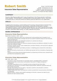 Insurance Representative Resumes Insurance Sales Representative Resume Samples Qwikresume