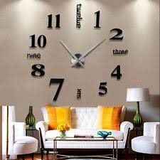 modern diy large wall clock 3d mirror surface sticker home office decor black big unique diy wall clocks
