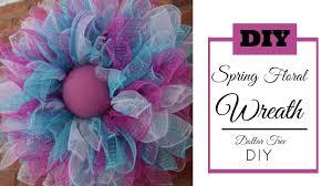 deco mesh spring wreath tutorial dollar tree diy easter wreath diy