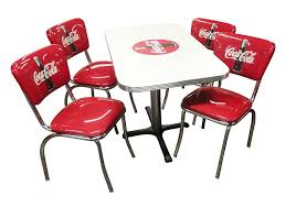 com vitro ccrtc coca cola dinette furniture set with 24 x42 rectangle table and 4 bullseye chair set red white scientific