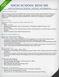 Resume Example College Resume Template For High School Students