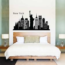 on new york skyline wall art stickers with new york skyline city silhouette vinyl wall art decal