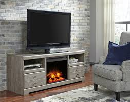 parlau gray lg tv stand with led fireplace insert