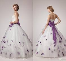 white and purple wedding dresses 2017 unique a line strapless with
