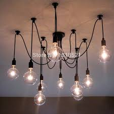 edison light chandelier chandeliers wonderful bulb ft rustic beam with vintage barn pottery