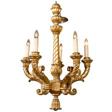 19th c french five light gilt chandelier