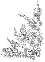 Printable Coloring Pages Of Flowers And Butterflies Four Butterflies And Flowers Just Perfect Harmonyfrom The