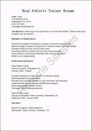 Sample Sports Resume Trainer Resume Sample Excellent Resume Samples Head Athletic