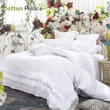 french wedding bedding set satin embroidery lace silk mix cotton luxury duvet cover flat sheet bed linen quilt cover set king size bedding king size duvet
