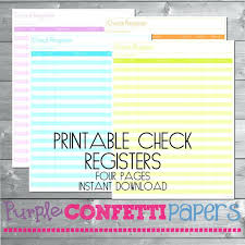 Printable Check Register Pages – Otologics.org