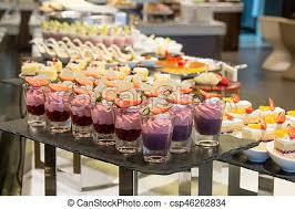 Served Decoration Buffet Banquet Dessert Table Cakes