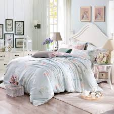 alice blue pink and grey vintage flower botany nature and organic shabby chic 100 tencel full queen size bedding sets blue shabby chic bedding