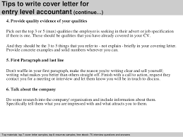 entry level accountant cover letter      tips to write cover letter for entry level accountant