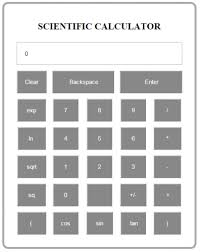 simple scientific calculator using javascript source code  in this project we are going to learn how to create a simple scientific calculator using javascript here s the script for scientific calculator