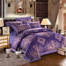 traditional dark purple blue and metallic gold retro gothic pattern tribal print luxury jacquard satin full queen size bedding sets