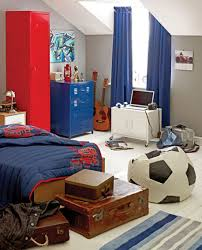 Red Bedroom Chairs Endearing Image Of Blue Brown Sport Theme Kid Bedroom Decoration