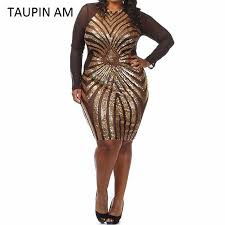 am i plus size 2018 wholesale taupin am plus size gold sequin dress black long