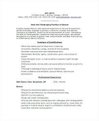 Dance Resumes Template Impressive Dance Resume Templates Resume Ideas Pro