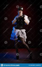 Light Blue Steampunk Dress Emotional Woman In Steampunk Costume Stock Image Image Of