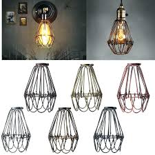 ceiling light fixture cover wired lamp shade retro vintage industrial covers pendant trouble bulb guard wire cage plate