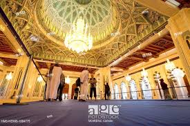 stock photo sultanate of oman mu the sultan qaboos grand mosque the chandelier in the prayer hall of men