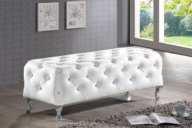 modern bedroom bench. Modern Black White Faux Leather Crystal Tufted Bedroom Bench