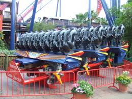 one of sheikra s floorless trains on display at the park