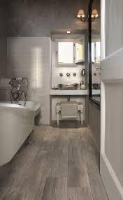 Gray Wood Tile Floor Bathroom