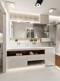 led bathroom lighting with frameless mirror above double sink bathroom vanity in modern bathroom ideas bathroom lighting ideas double vanity modern