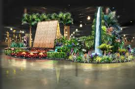 the 2016 philadelphia flower show arrives at the convention center march 4 11 complete with hawaiian theme virtual wave wall 25 ft waterfall