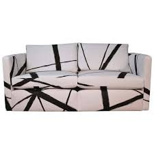 Iconic Modern Furniture Knoll Pfister Loveseat Sofa With Custom Hand Painted Fabric