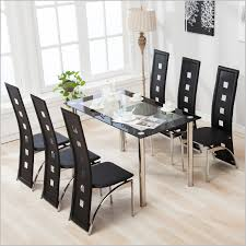 dining table set 6 chairs glass metal kitchen room breakfast table set for 6