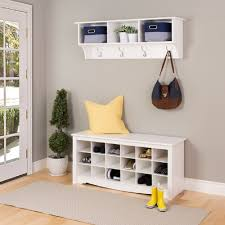 Shoe Rack With Bench And Coat Rack Decor White Wooden Shoe Storage Bench With Wall Mounted Storage 68
