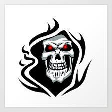 Skull Tribal Tattoo Art Print
