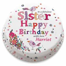 Personalised Happy Birthday Sister Cake Bakerdays