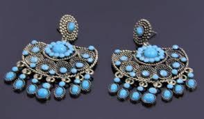 tibetan silver turquoise bead chandelier earrings