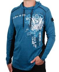 Men S Marled Eagle Print Color Block Hoodie From Modern Culture L