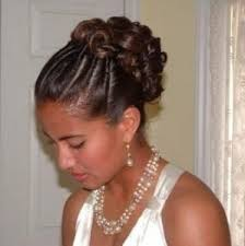 7 cornrows to curly updo