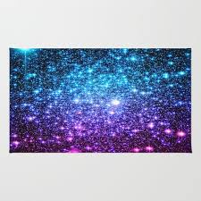 glitter galaxy stars turquoise blue purple hot pink ombre rug