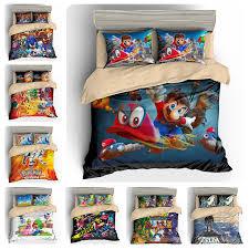 details about super mario odyssey pokemon solgaleo sonic splatoon duvet cover kids bedding set