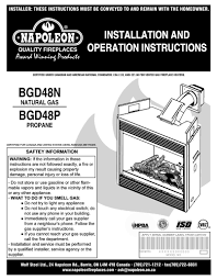 napoleon fireplaces bgd48p user manual