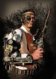 Steampunk outfit with leather vest, heavy gun, vambrace, backpack time  machine, mask, and Victorian clothes