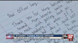 Student S Thank You Letter Brings Police Officer To Tears Youtube