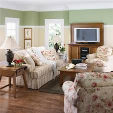 Two Color Living Room Walls Beautiful Floral Living Room Seating Area Set In Front Of Wooden