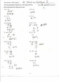 solving quadratic equations worksheet exercise ages
