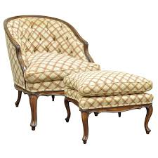 vintage country french louis xv style barrel back bergere lounge chair ottoman for