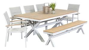outdoor table and chairs. Granada 5 Seater With Bench, Outdoor Dining Furniture, Settings, Table And Chairs A